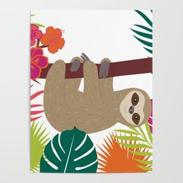 Tropical Sloth Poster