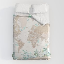 Leanne detailed world map with greenery Duvet Cover