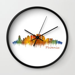 Phoenix Arizona, City Skyline Cityscape Hq v2 Wall Clock