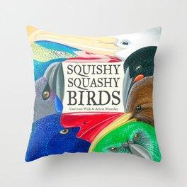 Squishy Squashy Birds Throw Pillow