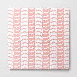 Wavy Stripes Peach Metal Print