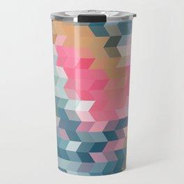 Abstract pink, blue, gray Travel Mug