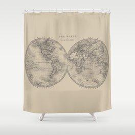 Hemispheres in Brown Shower Curtain
