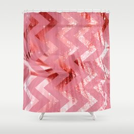 striped wavy pink glittered abstract digital pattern Shower Curtain