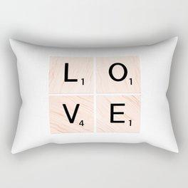 LOVE Scrabble Tiles on Custom Vector Wood Background Rectangular Pillow
