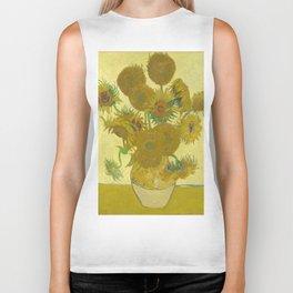 Sunflowers by Vincent van Gogh Biker Tank