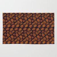korean Area & Throw Rugs featuring Korean Chrysanthemum - Orange by 1004kim
