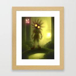 Skull kid in forest Framed Art Print