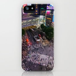 Crowd walking across Shibuya crossing in Tokyo, Japan iPhone Case