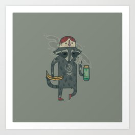 "Raccoon wearing human ""hat"" Art Print"