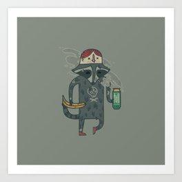 "Raccoon wearing human ""hat"" Art Print"
