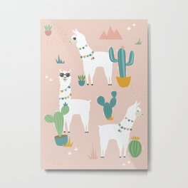 Summer Llamas on Pink Metal Print