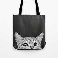 cats Tote Bags featuring You asleep yet? by Laura Graves