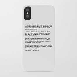 F Scott Fitzgerald quote iPhone Case