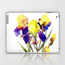 Garden Irises Floral Artwork Yellow Purple Blue Floral design Laptop & iPad Skin