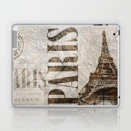 Vintage Paris eiffel tower illustration Laptop & iPad Skin