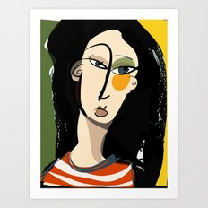 The girl with yellow cheek Art Print