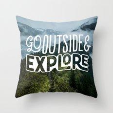 Go outside & explore Throw Pillow