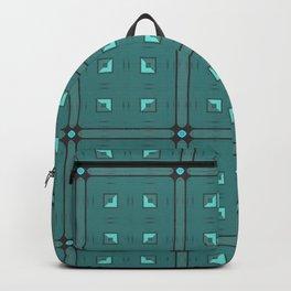 Dark Turquoise Geometric Pattern Backpack