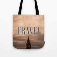 travel poster Tote Bags featuring Travel by Efty