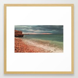 sea waves lapping on shore Framed Art Print