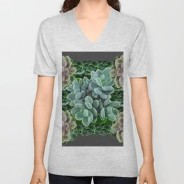 GARDEN OF GRAY-GREEN PINK SUCCULENTS Unisex V-Neck