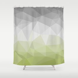light green and grey polygon Shower Curtain