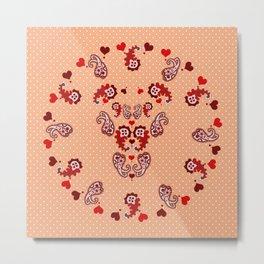 Paisley, Dots and Hearts Metal Print