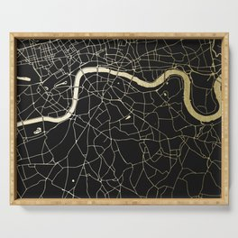 London Black on Gold Street Map Serving Tray