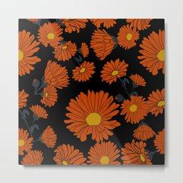 Black orange calendula Metal Print
