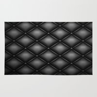 leather Area & Throw Rugs featuring BLACK LEATHER by Smart Friend