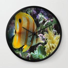 Yellow Longnose Butterfly Fish Wall Clock