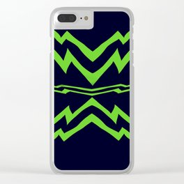 Green Lightning Stripes Clear iPhone Case