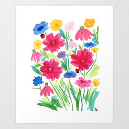 Whimsical Wildflowers, Watercolor Flowers, Pink Red and Yellow Flowers, Ladybug Art, Colorful Fun Art Print