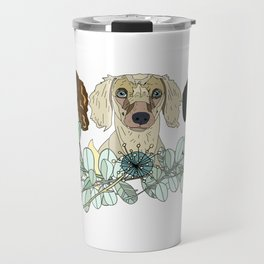 Triple Dachshunds Floral Travel Mug