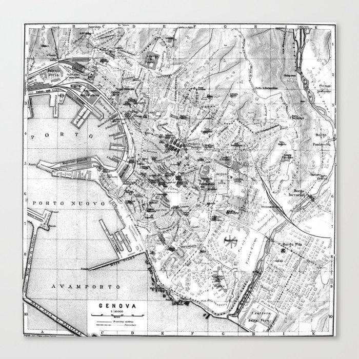 Vintage Map Of Genoa Italy 1906 Bw Canvas Print By Bravuramedia Society6