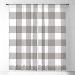 Grey & White Plaid Blackout Curtain