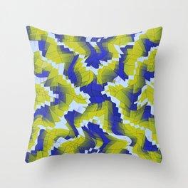 Blue And Green splinter Throw Pillow
