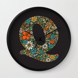 Hippie Floral Letter Q Wall Clock