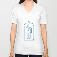 bathroom V-neck T-shirts featuring Doctor Who Bathroom Sign by Bright Ideas Studio