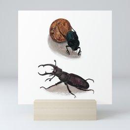 Stag beetle and Sacred Scarab Illustration Mini Art Print