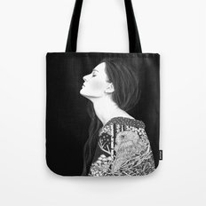 Forest and night in black & white Tote Bag