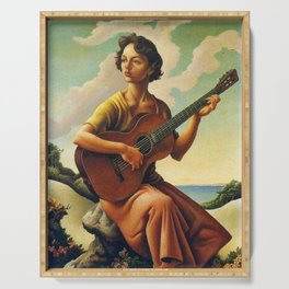 Classical Masterpiece 'Jesse with Guitar' by Thomas Hart Benton Serving Tray