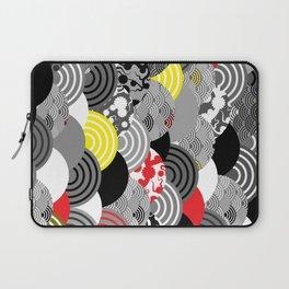 Nature background with japanese sakura flower, Cherry, wave circle Black gray white Red Yellow Laptop Sleeve
