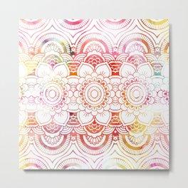 Trendy elegant coral watercolor floral mandala  Metal Print