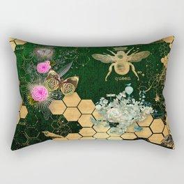 French chic, victorian,bee,floral,gold foil, belle epoque,art nouveau, green foil, elegant chic coll Rectangular Pillow