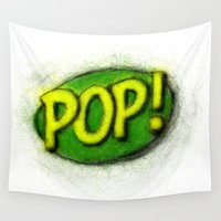 pop art Wall Tapestries featuring Pop! by KitschyPopShop