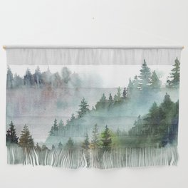 Watercolor Pine Forest Mountains in the Fog Wall Hanging