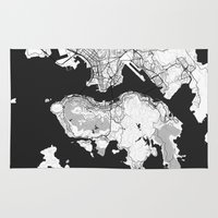 hong kong Area & Throw Rugs featuring Hong Kong Map Gray by City Art Posters