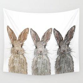 Triple Bunnies Wall Tapestry